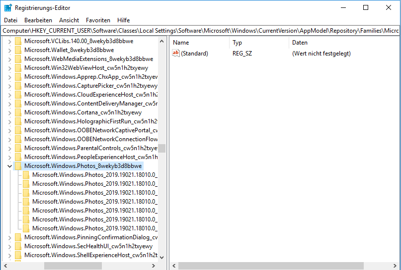 Registrierungs-Editor Microsoft Windows Photos Einträge