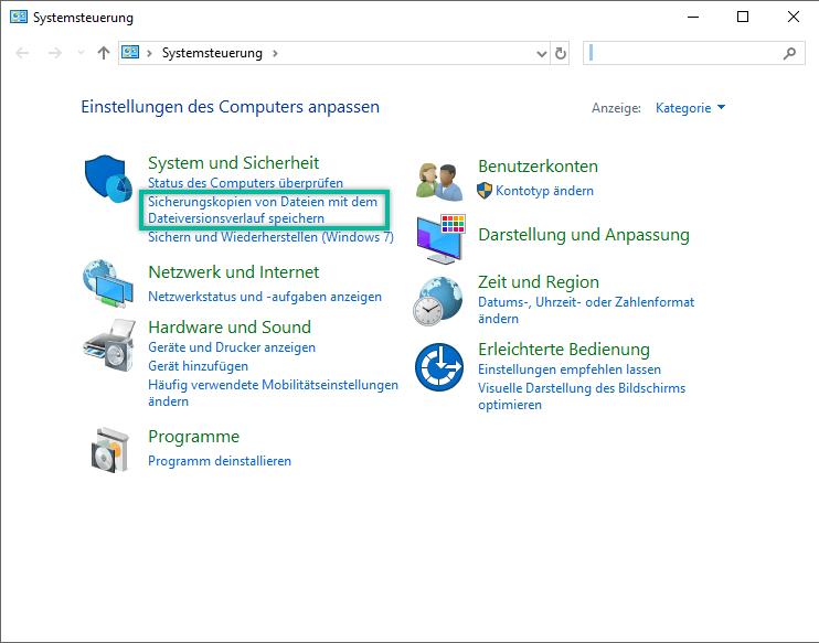 Sicherungskopien von Dateien mit dem Dateiversionsverlauf speichern
