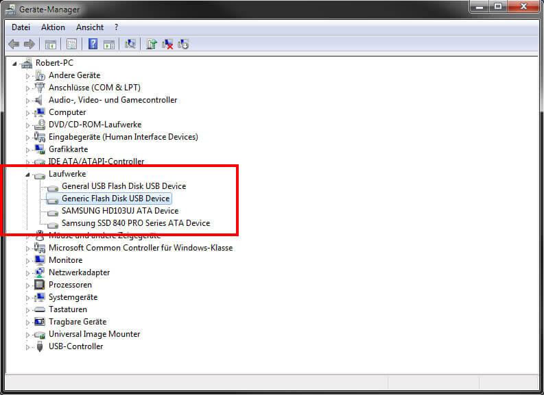 USB-Stick im Geräte Manager aktivieren