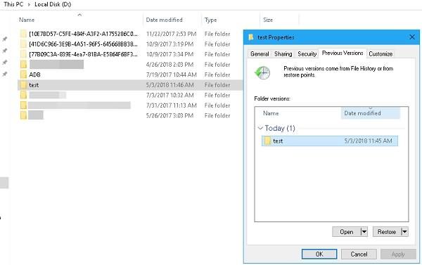 Vorherige Dateien retten
