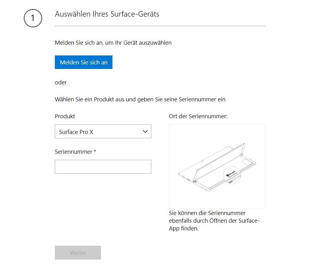 Wiederherstellungsabbild herunterladen Microsoft Surface