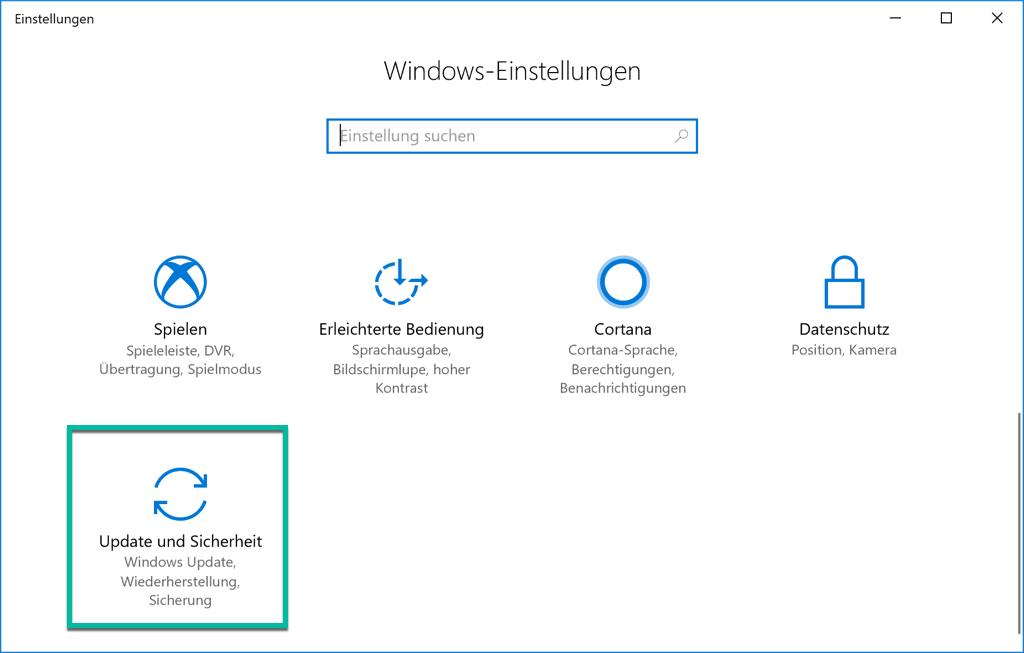 Windows 10 Update und Sicherheit