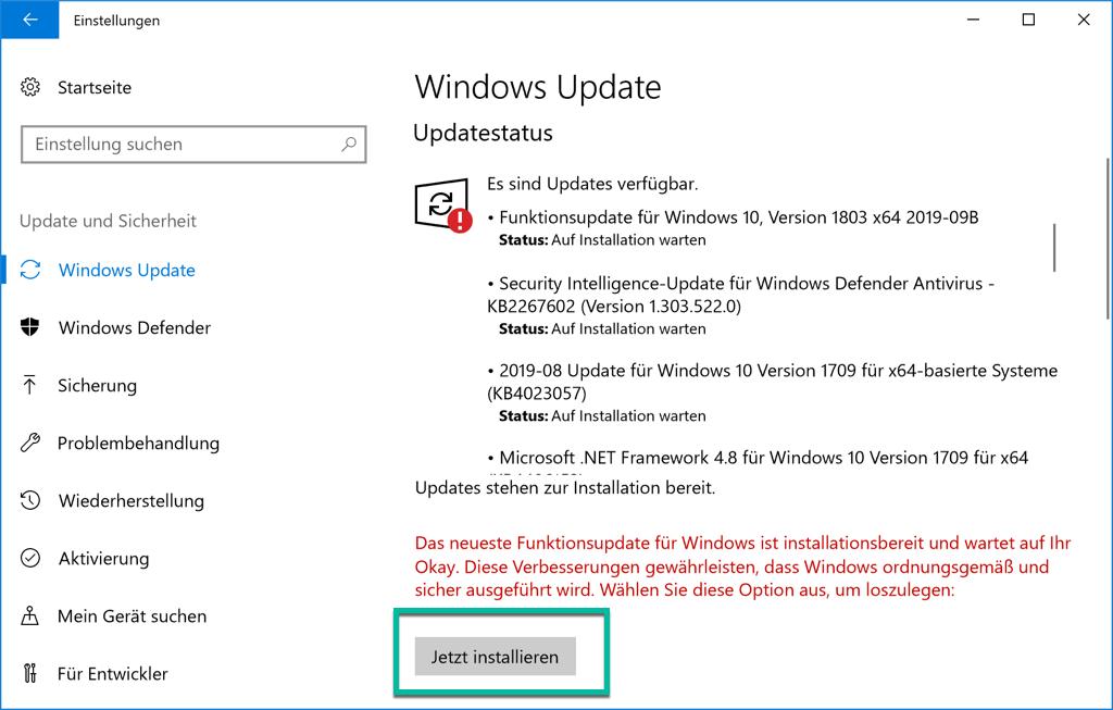 Windows 10 Update Jetzt installieren