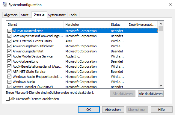 Windows-Systemkonfiguration Alle Dienste deaktivieren