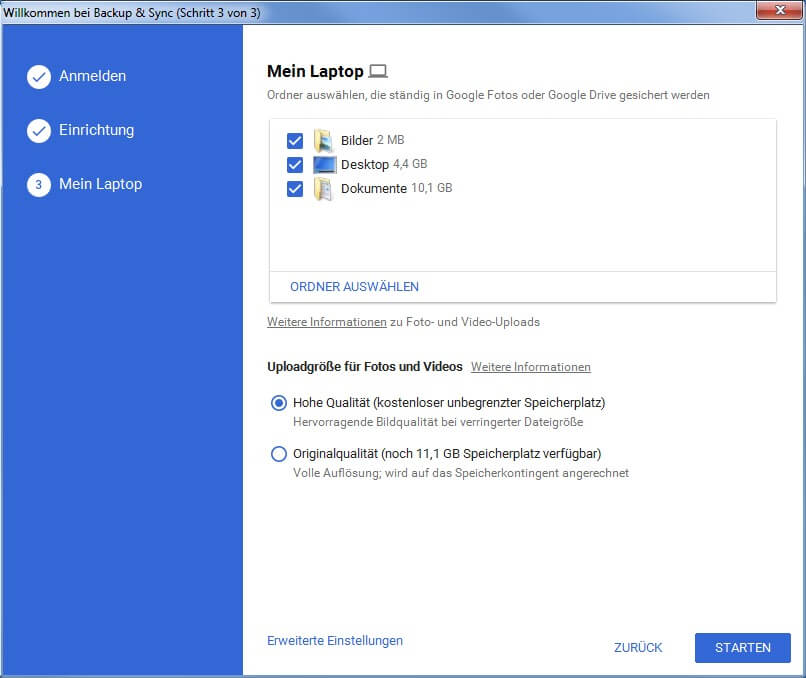 Windows sichern mit Google Drive