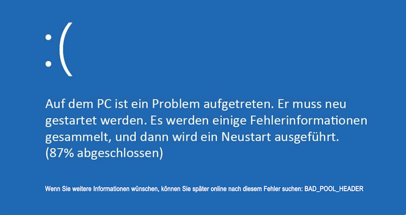 Bad Pool Header auf Windows beheben