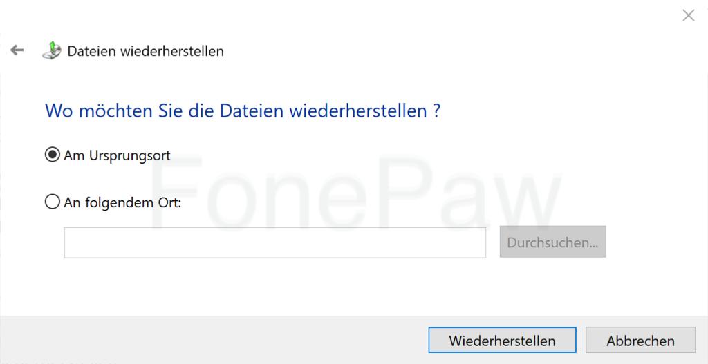 Windows Dateien am Ursprungsort wiederherstellen