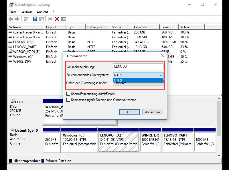 Windows Festplatte formatieren