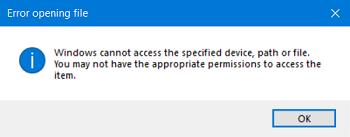 Windows kan nicht den Ordner öffnen