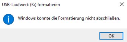 Windows Kann Formatierung Nicht Abschließen