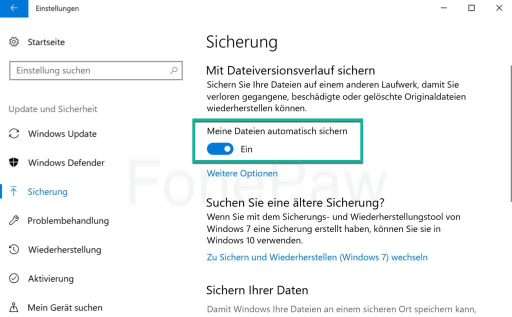 Meine Dateien automatisch sichern