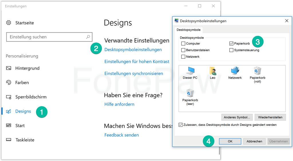 Gelöschten Papierkorb wiederherstellen Windows 10