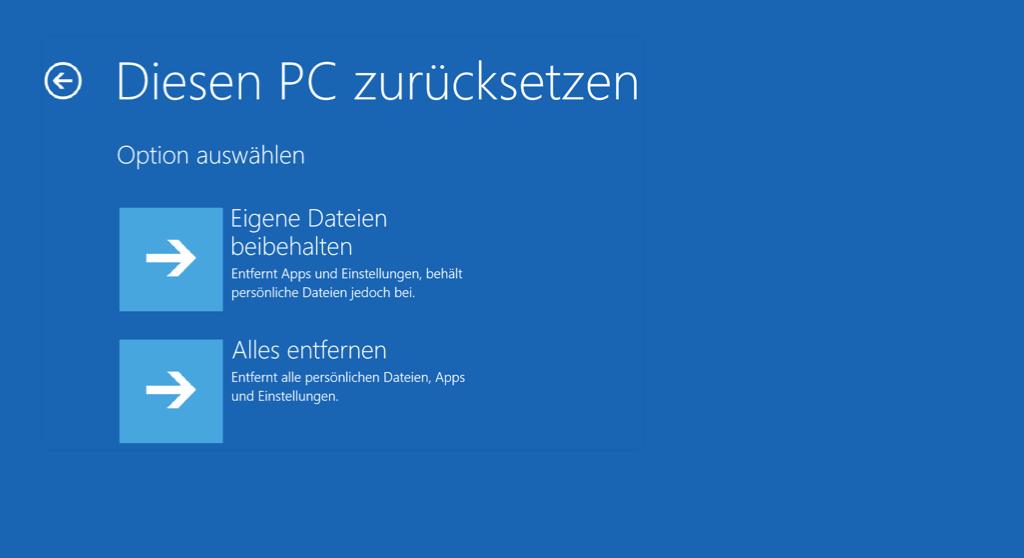 Windows PC zurücksetzen eigene Dateien beibehalten