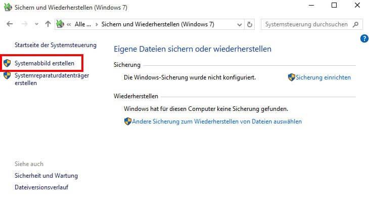 Sichern und Wiederherstellen (Windows 7)