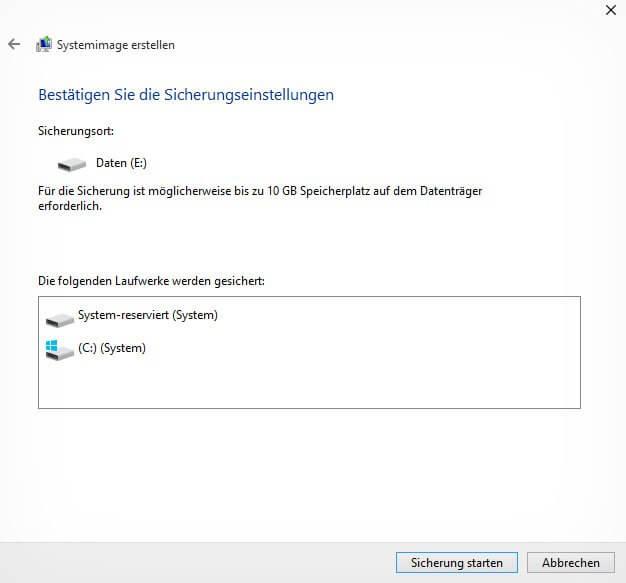 Systemabbild erstellen auf Windows