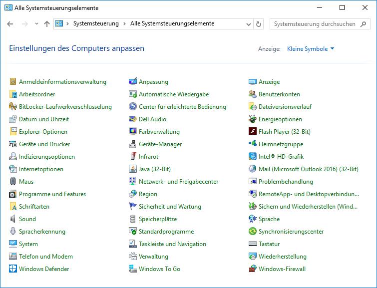 System und Sicherheit auf Windows