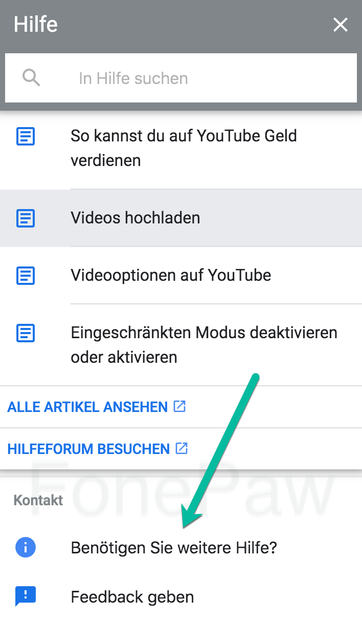 YouTube Benötigen Sie weitere Hilfe