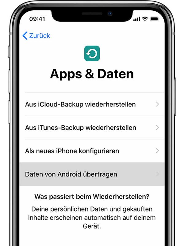 iPhone Apps und Daten Bildschirm