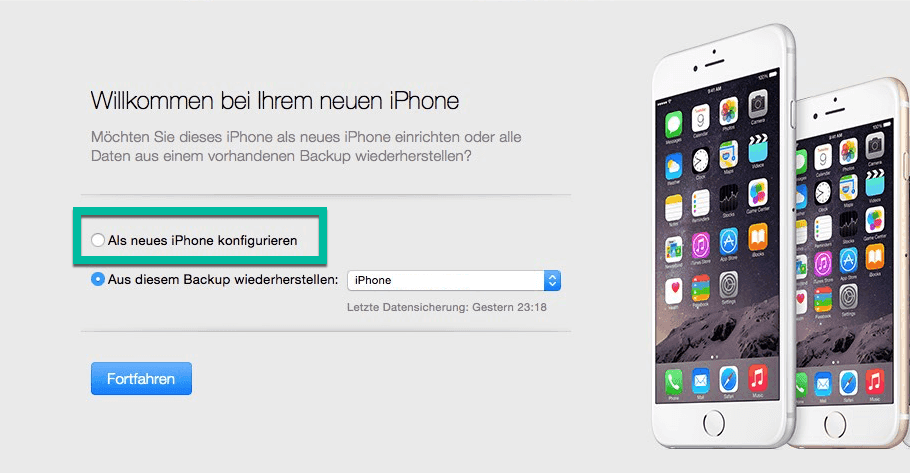 Als neues iPhone konfigurieren iTunes