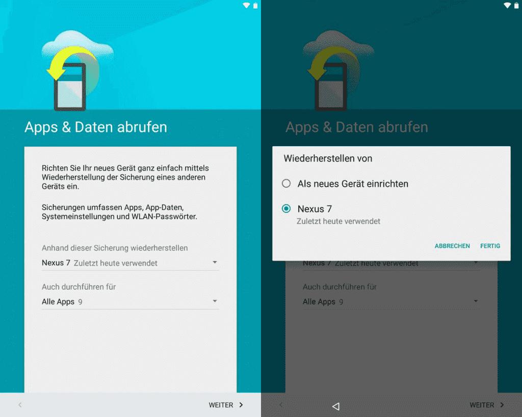 Android Apps Daten abrufen beim neu Einrichten