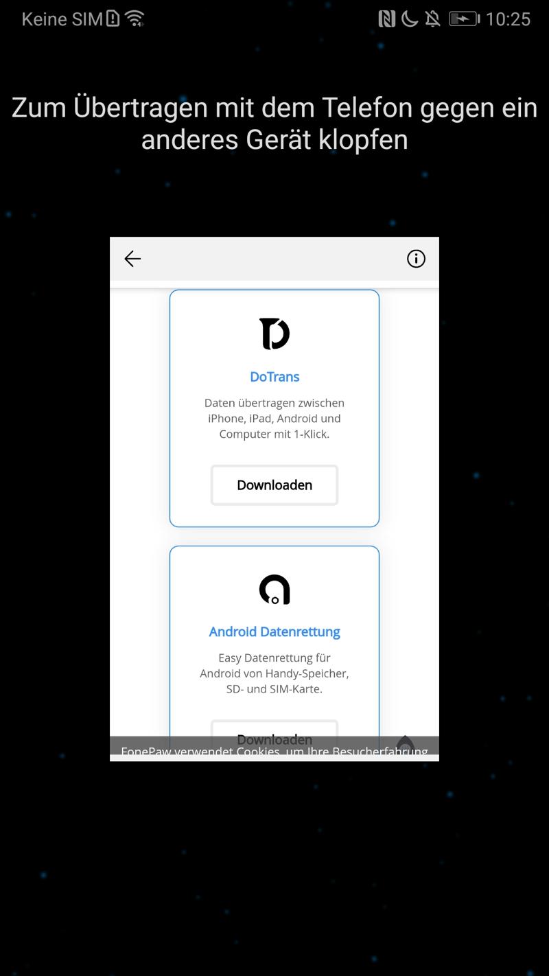 Android Fotos übertragen über NFC