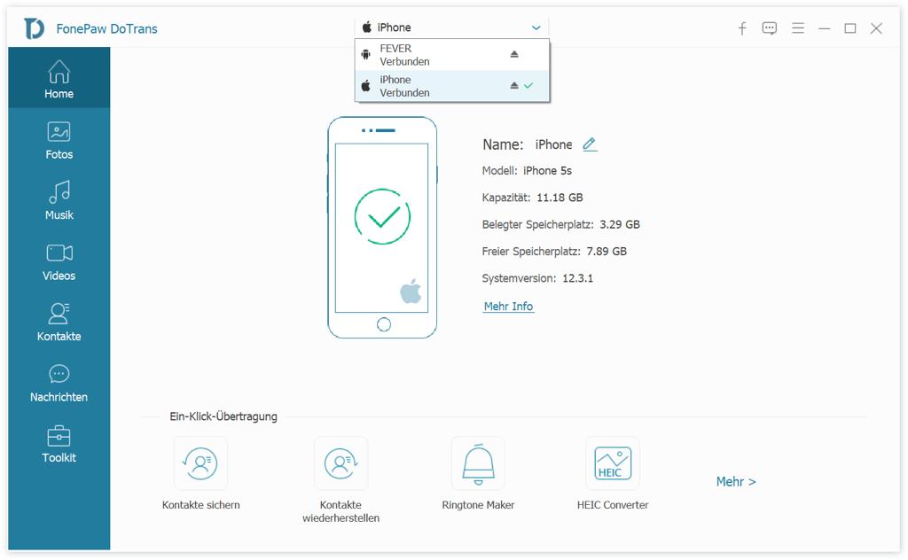 Android und iPhone mit DoTrans verbinden