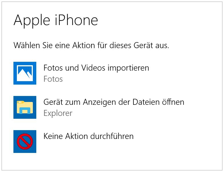 Autoplay iPhone Fotos und Videos importieren