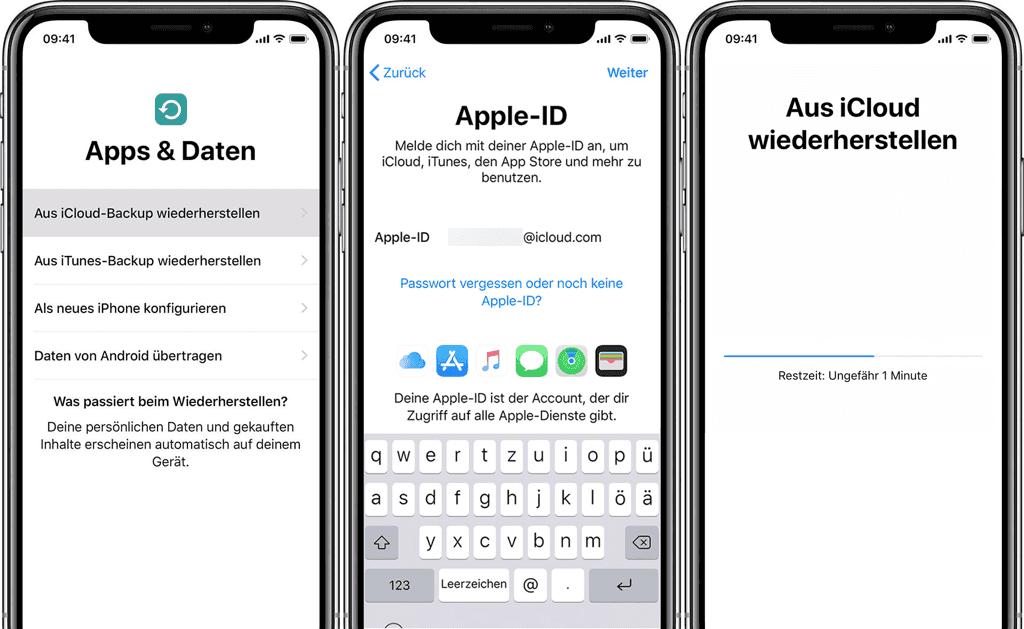 Apps und Daten iPhone aus iCloud wiederherstellen
