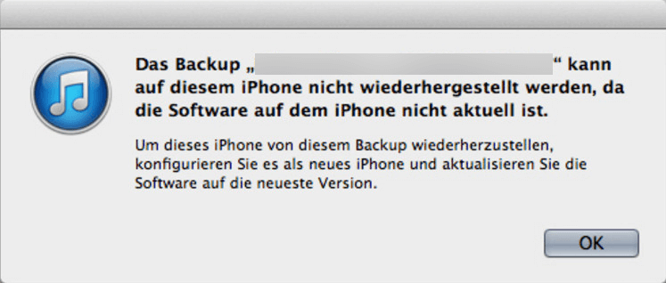 Backup kann nicht wiederhergestellt werden, da die Software nicht aktuell ist