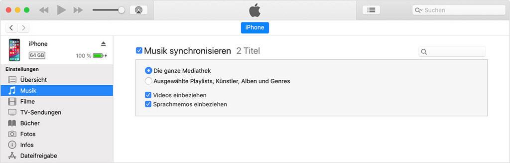 Die ganze Mediathek synchronisieren iTunes
