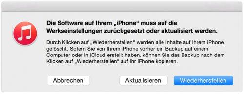 Die Software auf Ihrem iPhone muss auf die Werkeinstellungen zurückgesetzt oder aktualisiert werden