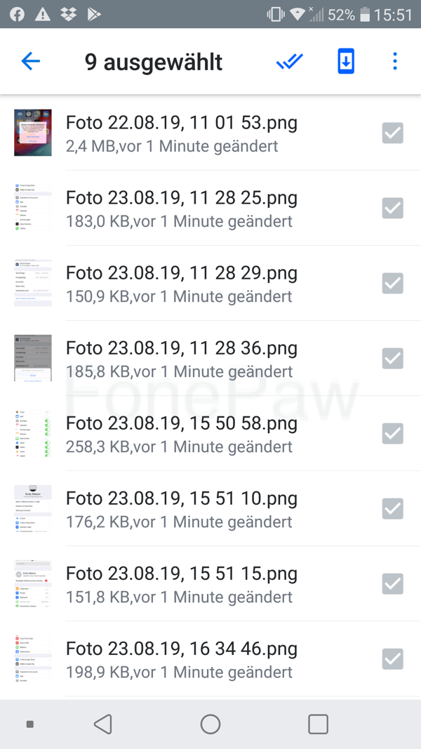 Fotos von Dropbox aufs Handy speichern