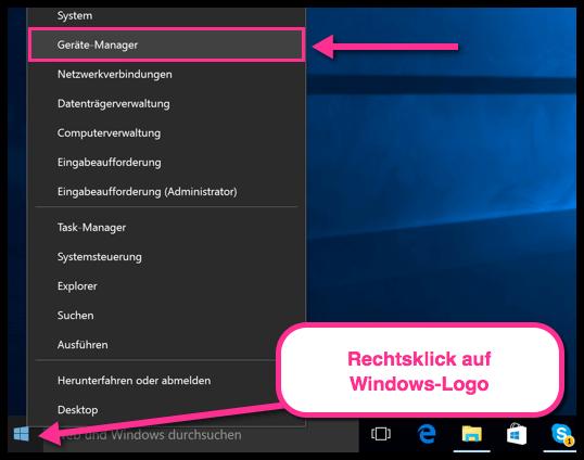 Gerätemanager auf Windows 10 öffnen