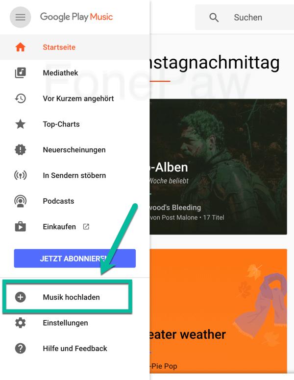 Google Play Musik hochladen