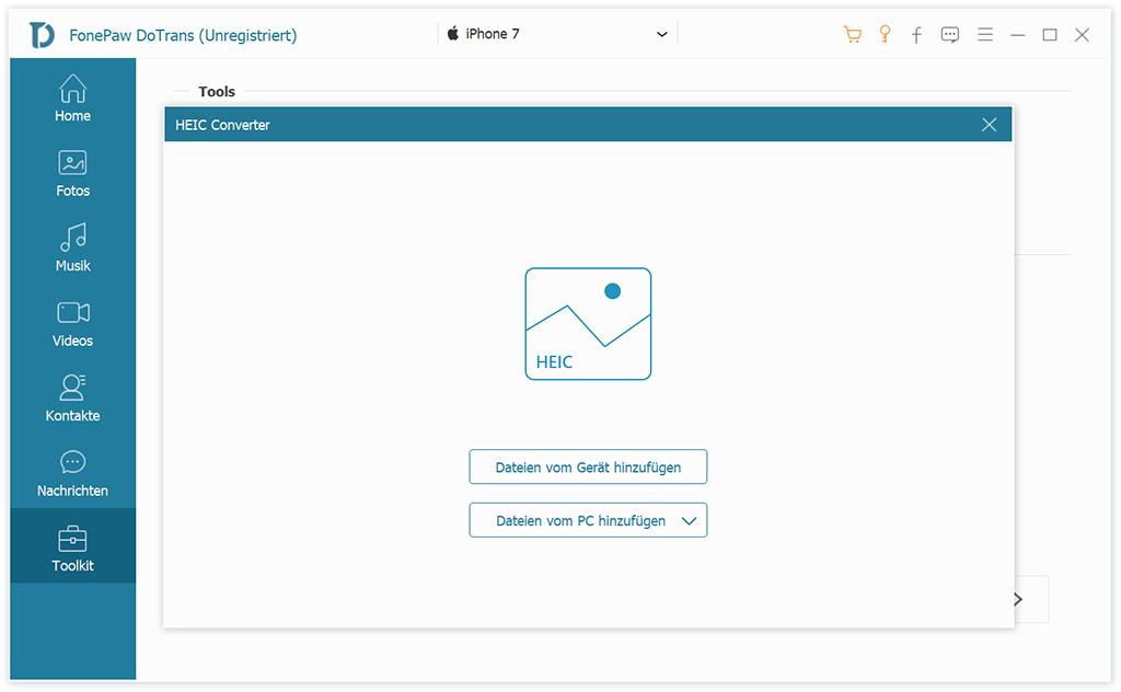 Wählen Sie Dateien im HEIC Converter aus