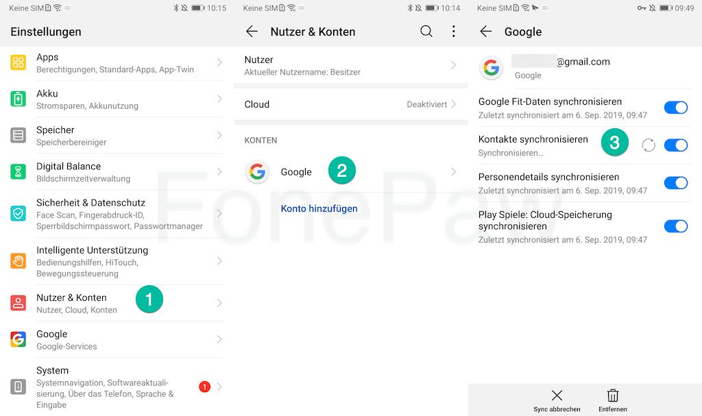 Android Kontakte synchronisieren mit Google
