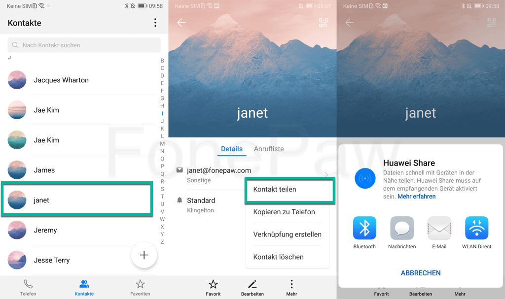 Handy Kontakte übertragen über Bluetooth