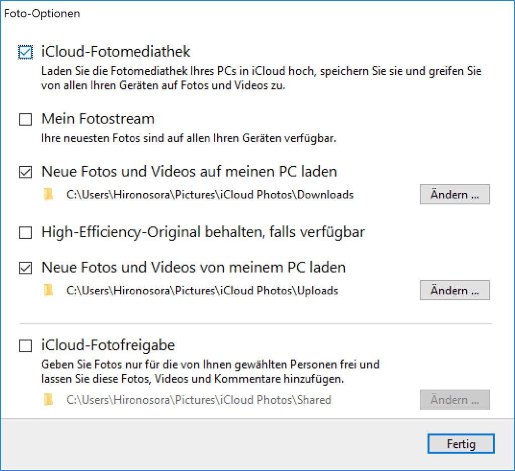iCloud neue Fotos und Videos auf meinen PC laden