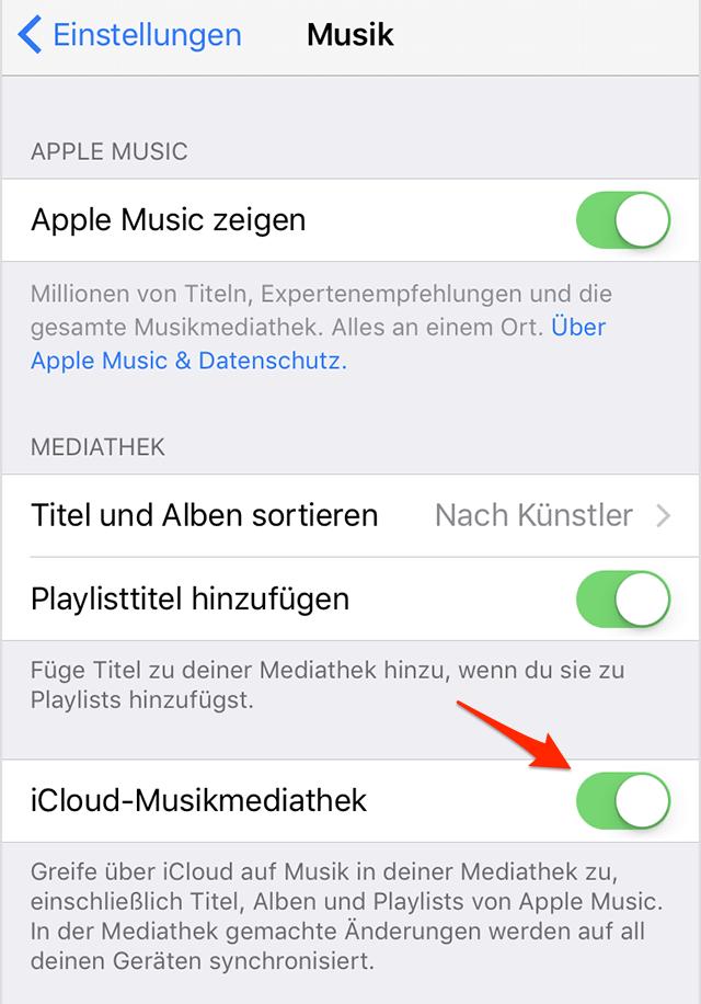 iCloud-Musikmediathek deaktivieren