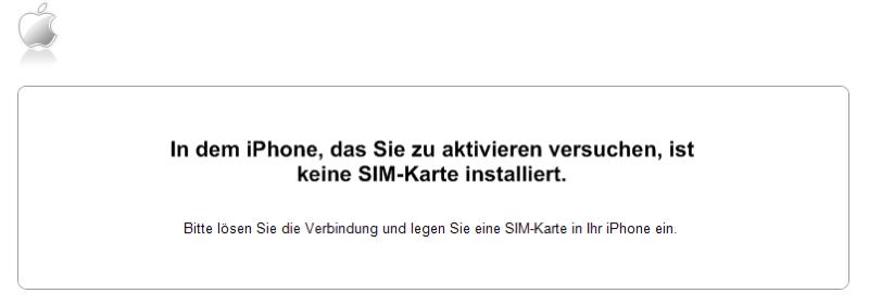 iTunes Keine SIM-Karte installiert in dem iPhone