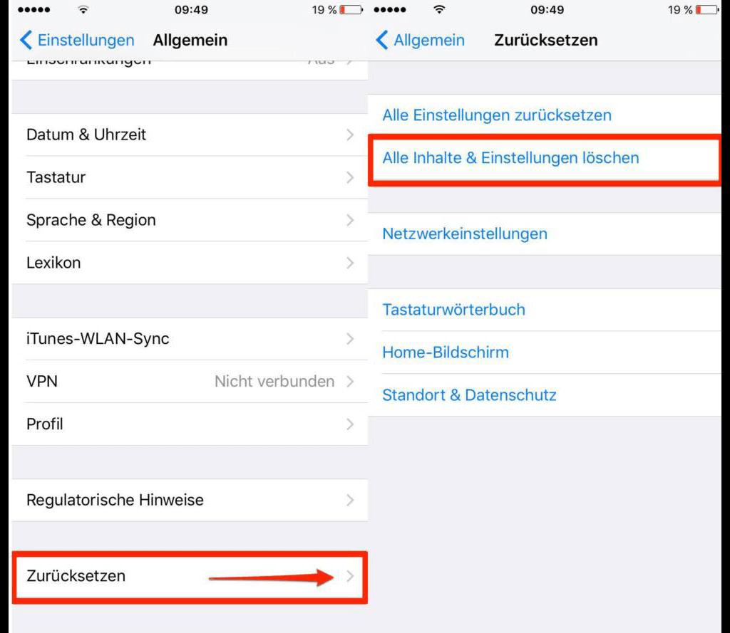 Alle Inhalte und Einstellungen auf iPhone löschen