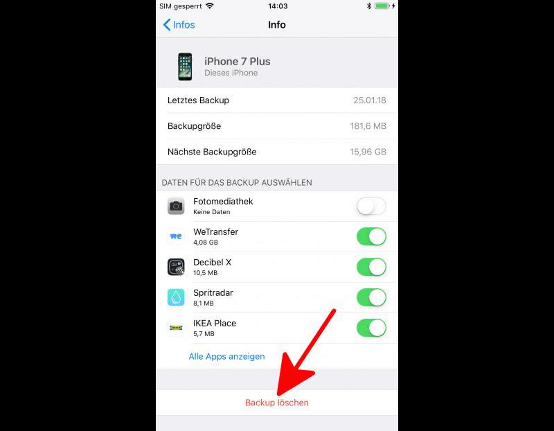 Alte iPhone Backup-Dateien löschen