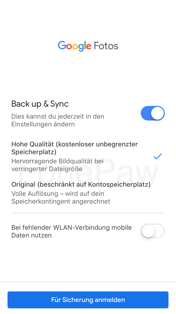 iPhone Fotos synchronisieren über Google Fotos