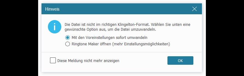 iPhone-Klington nicht im richtigen Format