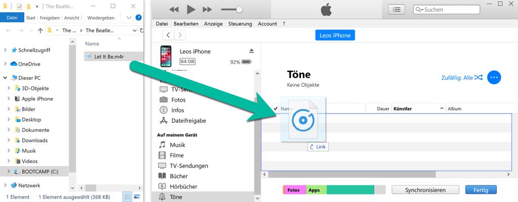 iPhone Klingelton übertragen über iTunes
