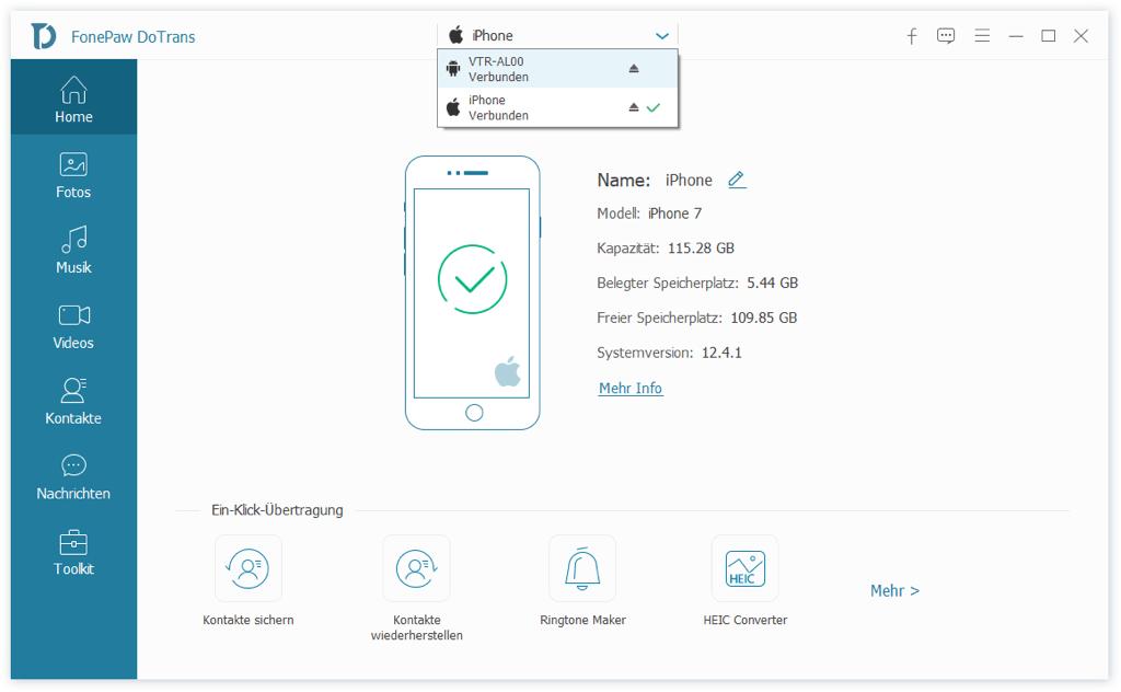 iPhone verbinden mit Huawei über USB