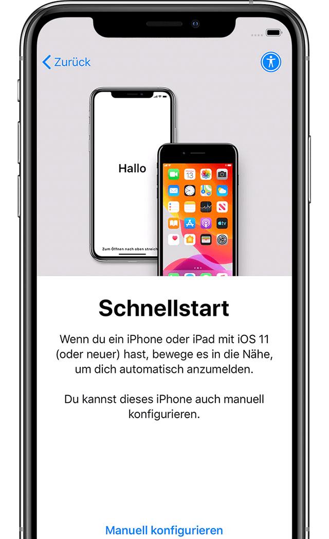 iPhone Schnellstart manuell konfigurieren