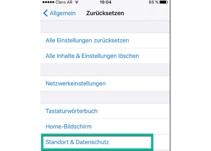 Standort & Datenschutz auf iPhone zurücksetzen