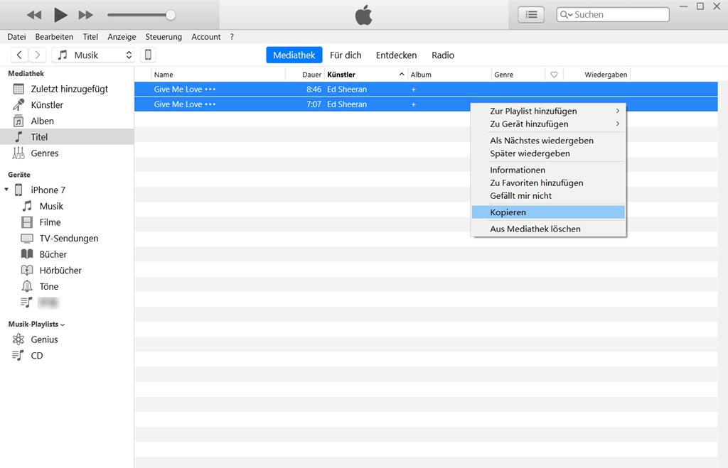 Musik Titel kopieren auf iTunes