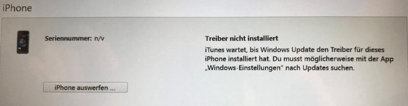 iPhone Treiber ist nicht installiert